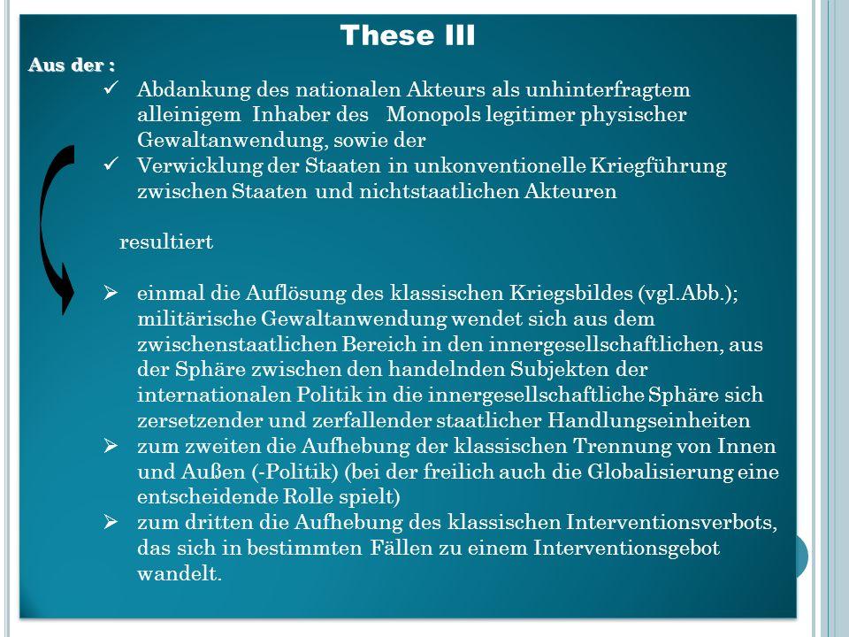 These III Aus der : Abdankung des nationalen Akteurs als unhinterfragtem alleinigem Inhaber des Monopols legitimer physischer Gewaltanwendung, sowie d