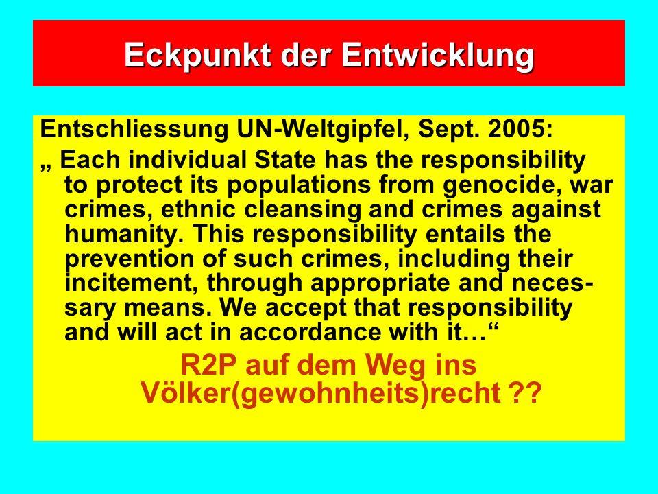 Eckpunkt der Entwicklung Entschliessung UN-Weltgipfel, Sept.