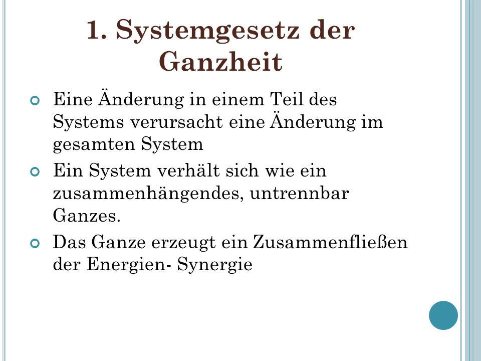 1. Systemgesetz der Ganzheit Eine Änderung in einem Teil des Systems verursacht eine Änderung im gesamten System Ein System verhält sich wie ein zusam