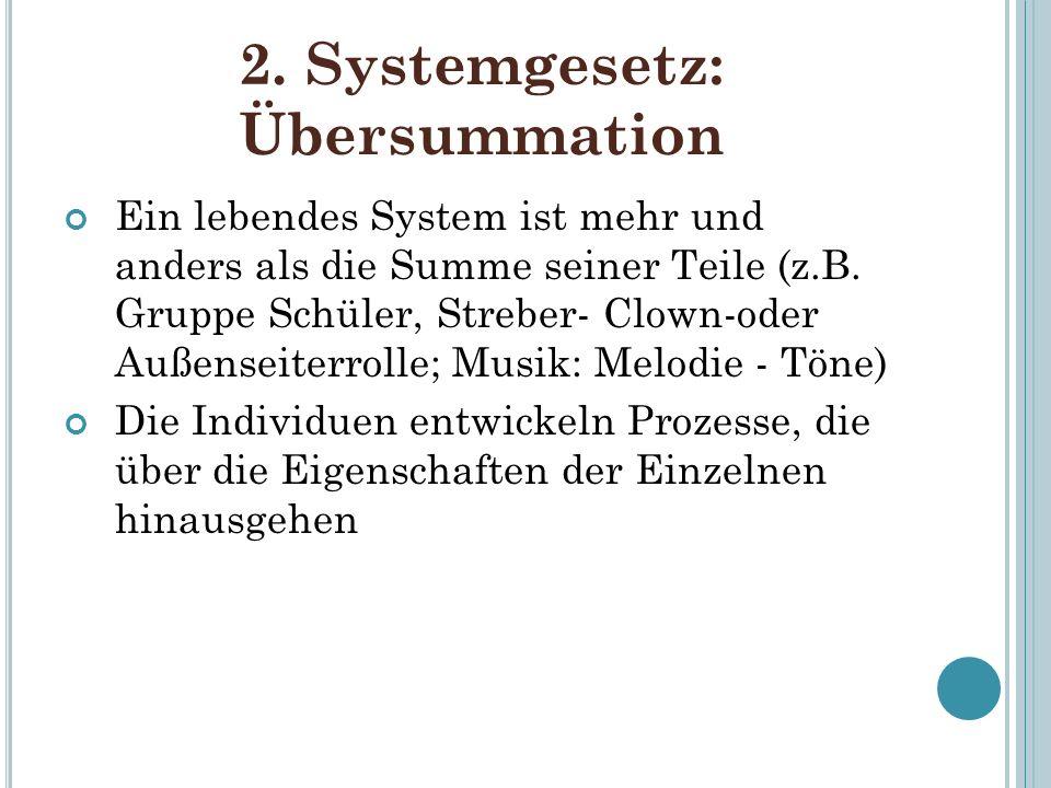 2. Systemgesetz: Übersummation Ein lebendes System ist mehr und anders als die Summe seiner Teile (z.B. Gruppe Schüler, Streber- Clown-oder Außenseite