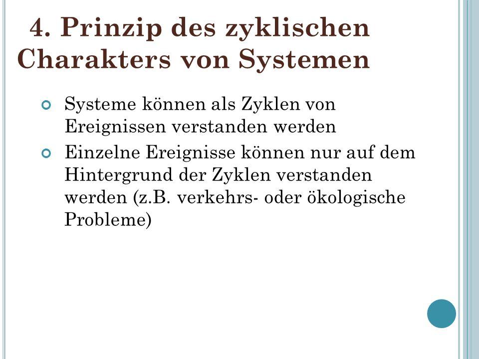 4. Prinzip des zyklischen Charakters von Systemen Systeme können als Zyklen von Ereignissen verstanden werden Einzelne Ereignisse können nur auf dem H