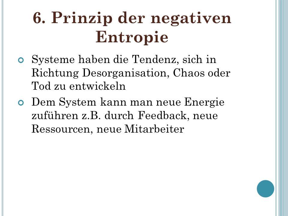 6. Prinzip der negativen Entropie Systeme haben die Tendenz, sich in Richtung Desorganisation, Chaos oder Tod zu entwickeln Dem System kann man neue E