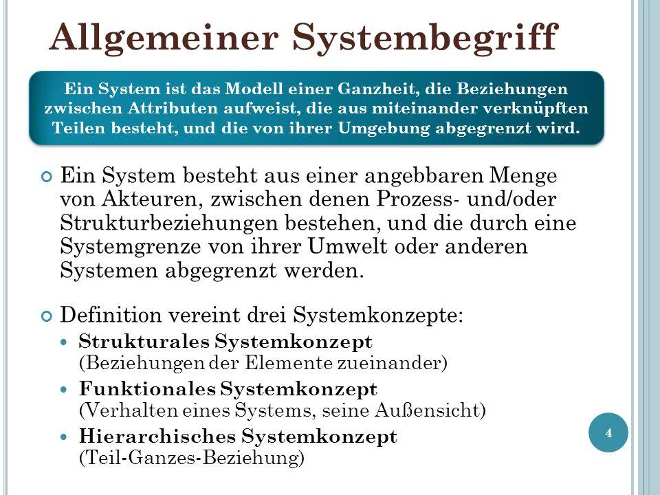 Allgemeiner Systembegriff Ein System besteht aus einer angebbaren Menge von Akteuren, zwischen denen Prozess- und/oder Strukturbeziehungen bestehen, und die durch eine Systemgrenze von ihrer Umwelt oder anderen Systemen abgegrenzt werden.