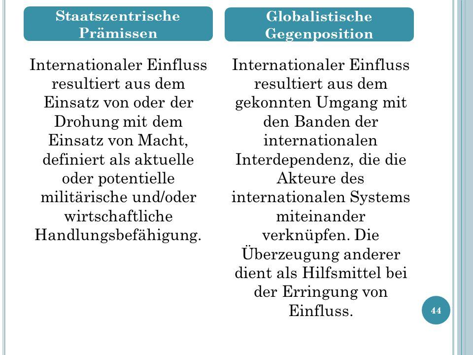 44 Internationaler Einfluss resultiert aus dem Einsatz von oder der Drohung mit dem Einsatz von Macht, definiert als aktuelle oder potentielle militärische und/oder wirtschaftliche Handlungsbefähigung.