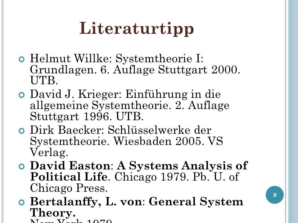 Literaturtipp Helmut Willke: Systemtheorie I: Grundlagen.
