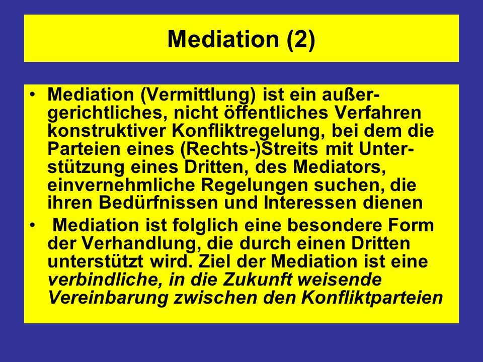 Mediation (3) Wichtigste Grundidee der Mediation ist die Eigenverantwortlichkeit der Konfliktparteien: Der Mediator ist verantwortlich für den Prozess, die Parteien sind verantwortlich für den Inhalt.