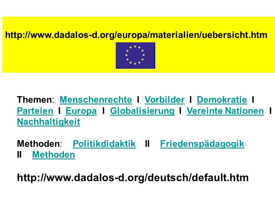 http://www.dadalos-d.org/europa/materialien/uebersicht.htm Themen: Menschenrechte I Vorbilder I Demokratie I MenschenrechteVorbilderDemokratie Parteie