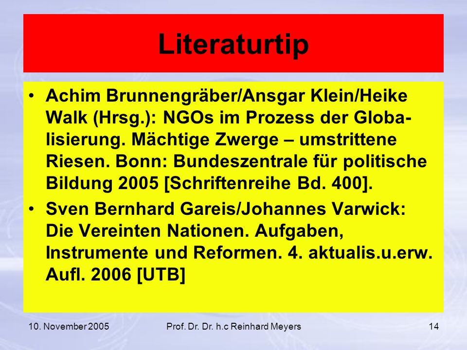 10. November 2005Prof. Dr. Dr. h.c Reinhard Meyers14 Literaturtip Achim Brunnengräber/Ansgar Klein/Heike Walk (Hrsg.): NGOs im Prozess der Globa- lisi