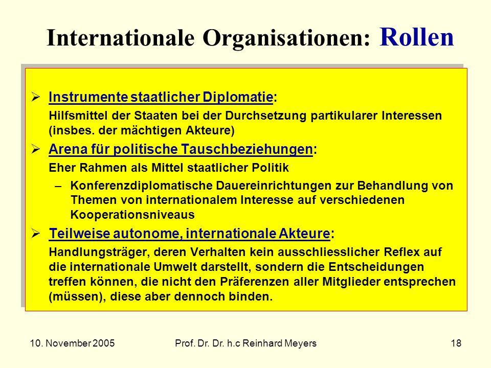 10. November 2005Prof. Dr. Dr. h.c Reinhard Meyers18 Internationale Organisationen: Rollen Instrumente staatlicher Diplomatie: Hilfsmittel der Staaten