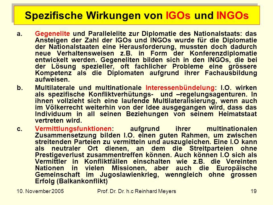 10. November 2005Prof. Dr. Dr. h.c Reinhard Meyers19 Spezifische Wirkungen von IGOs und INGOs a.Gegenelite und Parallelelite zur Diplomatie des Nation
