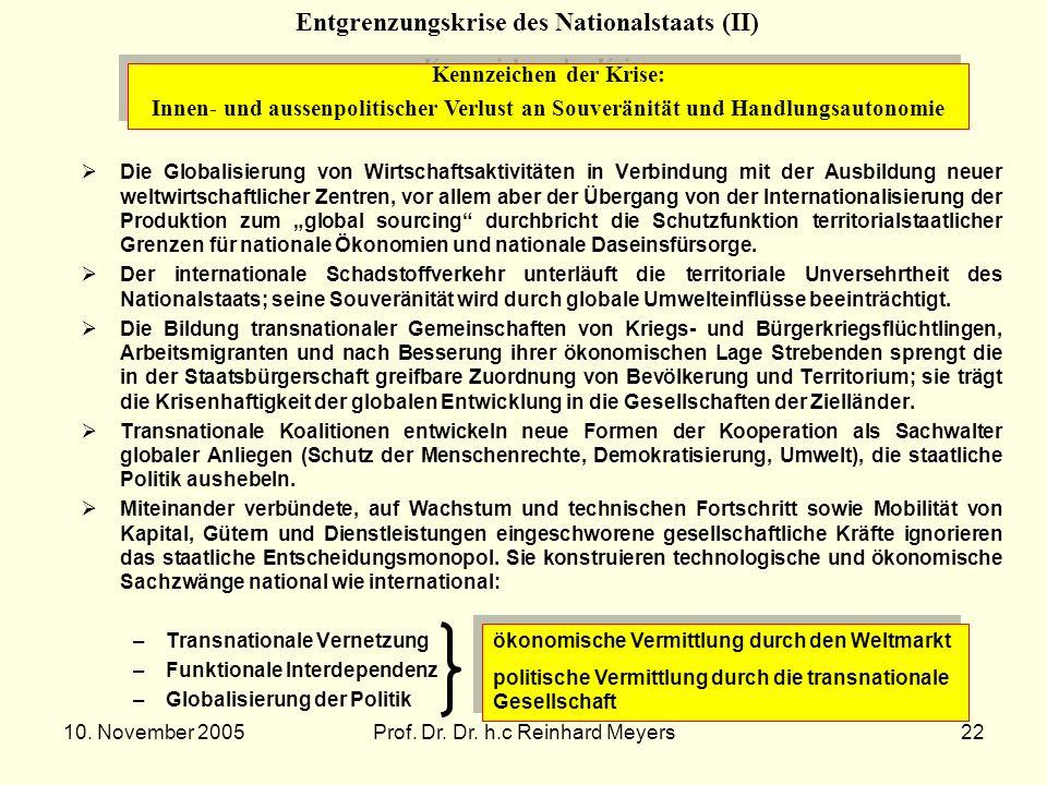 10. November 2005Prof. Dr. Dr. h.c Reinhard Meyers22 Entgrenzungskrise des Nationalstaats (II) Kennzeichen der Krise: Innen- und aussenpolitischer Ver