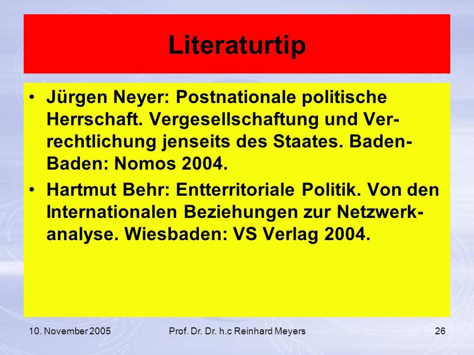10. November 2005Prof. Dr. Dr. h.c Reinhard Meyers26 Literaturtip Jürgen Neyer: Postnationale politische Herrschaft. Vergesellschaftung und Ver- recht