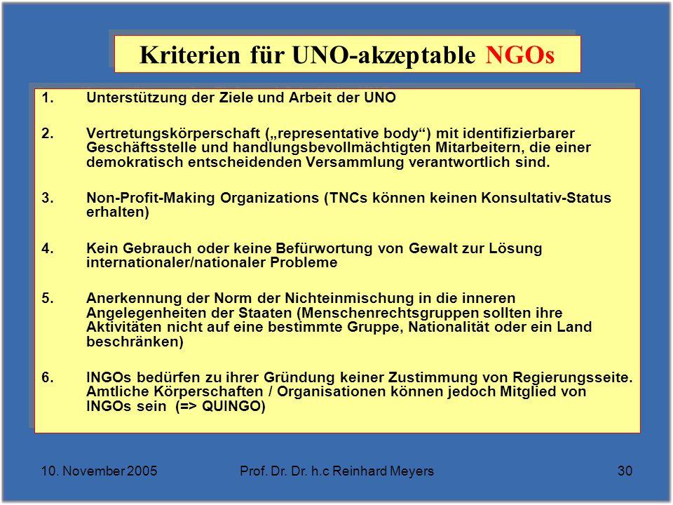 10. November 2005Prof. Dr. Dr. h.c Reinhard Meyers30 Kriterien für UNO-akzeptable NGOs 1.Unterstützung der Ziele und Arbeit der UNO 2.Vertretungskörpe