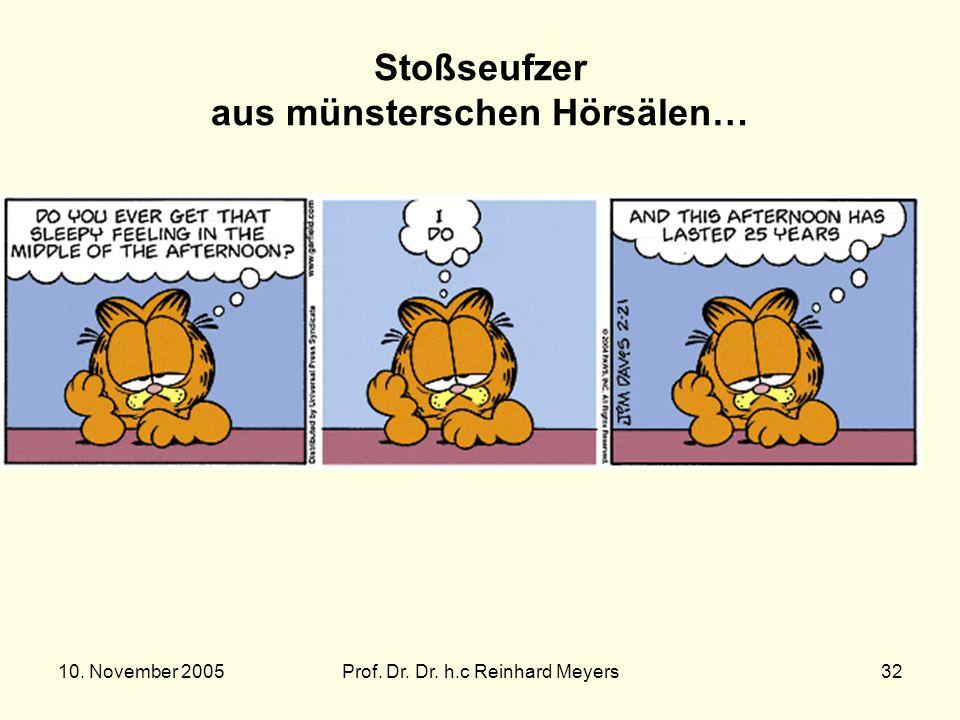 10. November 2005Prof. Dr. Dr. h.c Reinhard Meyers32 Stoßseufzer aus münsterschen Hörsälen…
