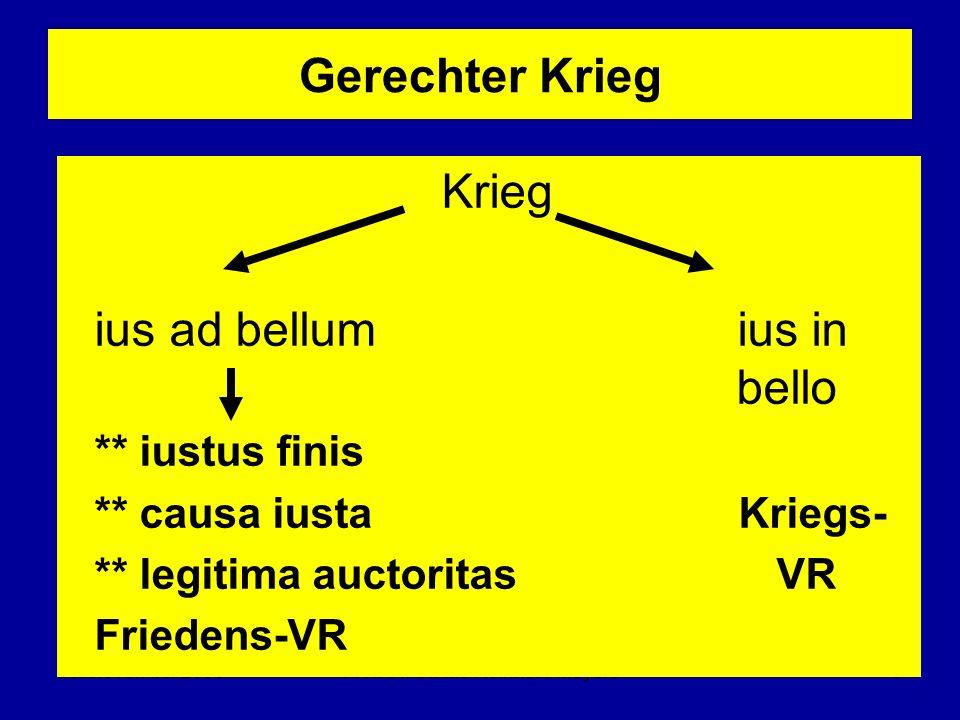 10. November 2005Prof. Dr. Dr. h.c Reinhard Meyers5 Gerechter Krieg Krieg ius ad bellum ius in bello ** iustus finis ** causa iusta Kriegs- ** legitim