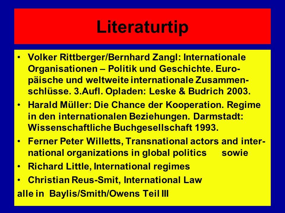 Literaturtip Volker Rittberger/Bernhard Zangl: Internationale Organisationen – Politik und Geschichte. Euro- päische und weltweite internationale Zusa