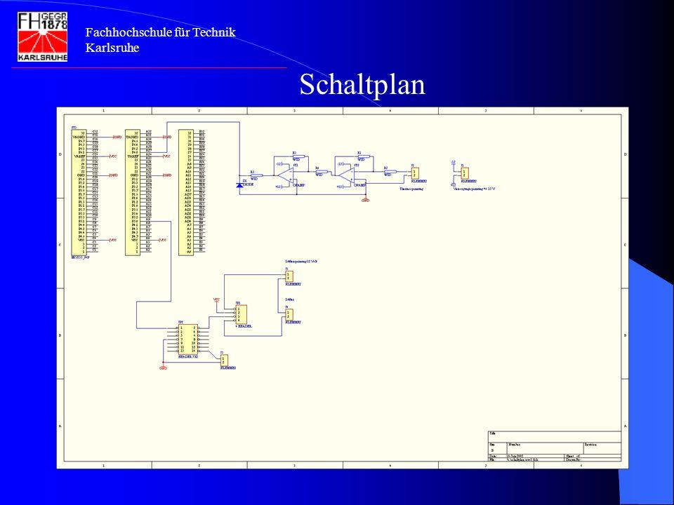 Fachhochschule für Technik Karlsruhe Eingabeeinheit: Portbelegung für die Eingabeeinheit PortBelegungBemerkung P6.0A27Verstärktes Signal für den µ- Controller VCCC4Versorgungsspannung U=5V GNDC21Masse VAREFC26Referenzspannung für den A/D- Wandler VAGNDC31Referenzmasse für den A/D- Wandler