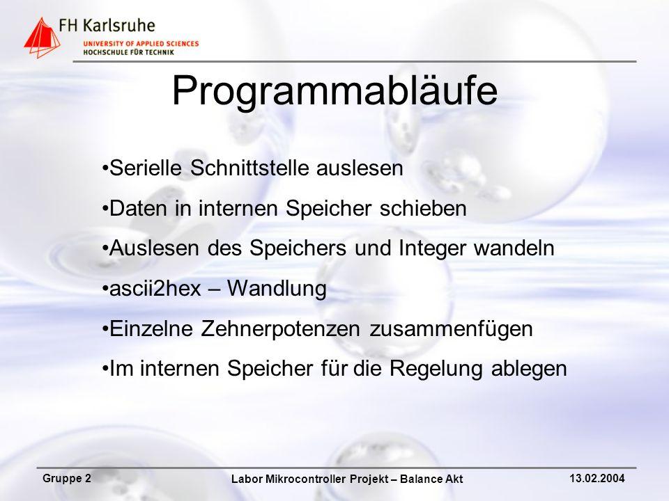 Labor Mikrocontroller Projekt – Balance Akt Gruppe 213.02.2004 Programmabläufe Serielle Schnittstelle auslesen Daten in internen Speicher schieben Aus