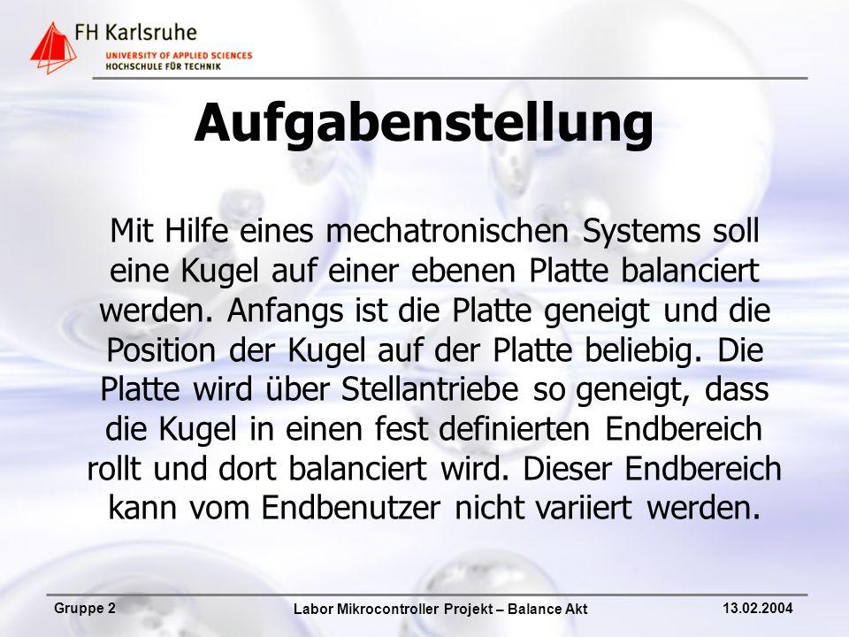 Labor Mikrocontroller Projekt – Balance Akt Gruppe 213.02.2004 Produktpräsentation