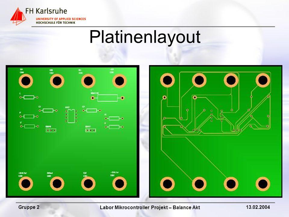Labor Mikrocontroller Projekt – Balance Akt Gruppe 213.02.2004 Platinenlayout
