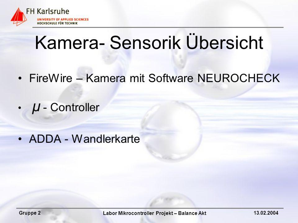 Labor Mikrocontroller Projekt – Balance Akt Gruppe 213.02.2004 Kamera- Sensorik Übersicht FireWire – Kamera mit Software NEUROCHECK µ - Controller ADD
