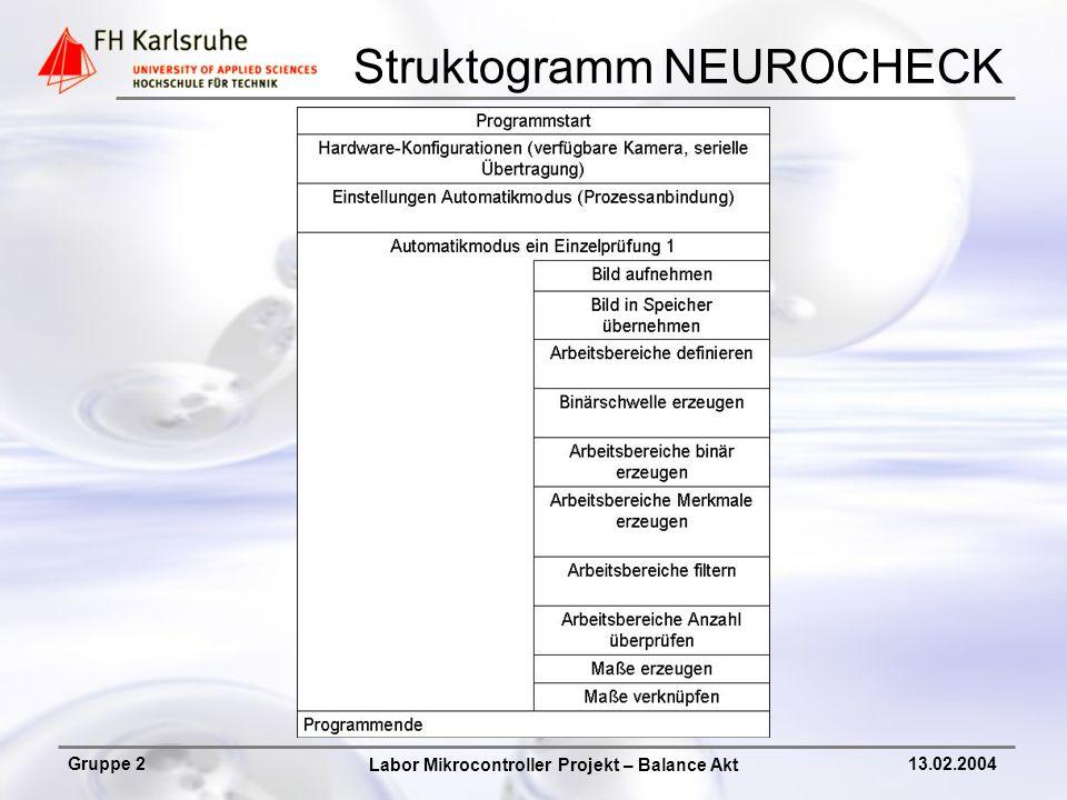 Labor Mikrocontroller Projekt – Balance Akt Gruppe 213.02.2004 NEUROCHECK Systemprotokoll Ergebnisausgabe Prüfprogramm Kamerabild x y 0 255