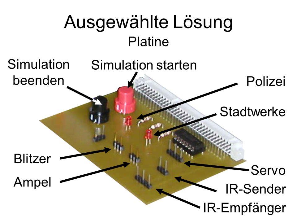 Ausgewählte Lösung Platine Simulation starten Servo IR-Sender IR-Empfänger Simulation beenden Blitzer Ampel Polizei Stadtwerke