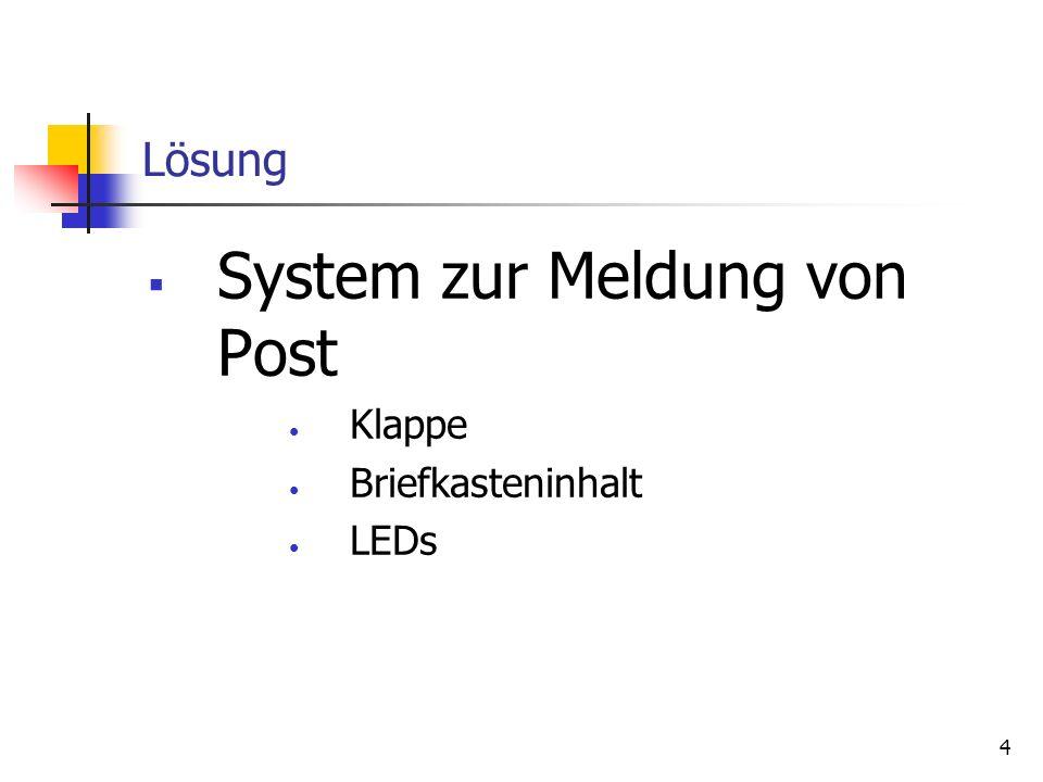 4 Lösung System zur Meldung von Post Klappe Briefkasteninhalt LEDs
