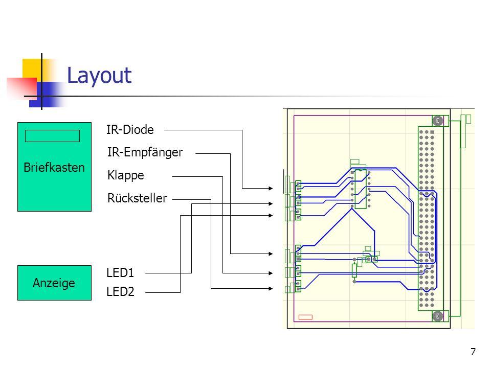 7 Layout Briefkasten IR-Diode IR-Empfänger Klappe Rücksteller Anzeige LED1 LED2