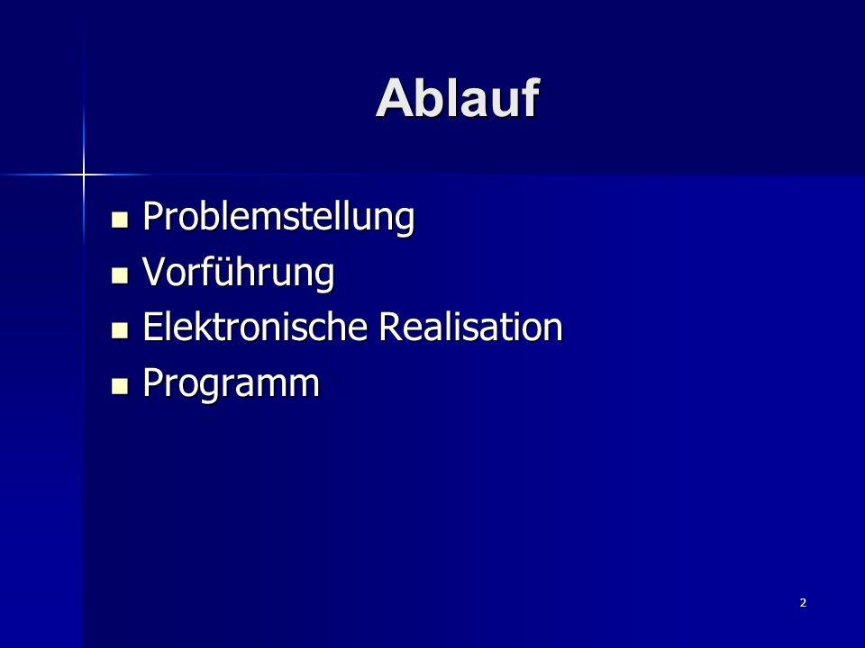 2 Ablauf Problemstellung Problemstellung Vorführung Vorführung Elektronische Realisation Elektronische Realisation Programm Programm