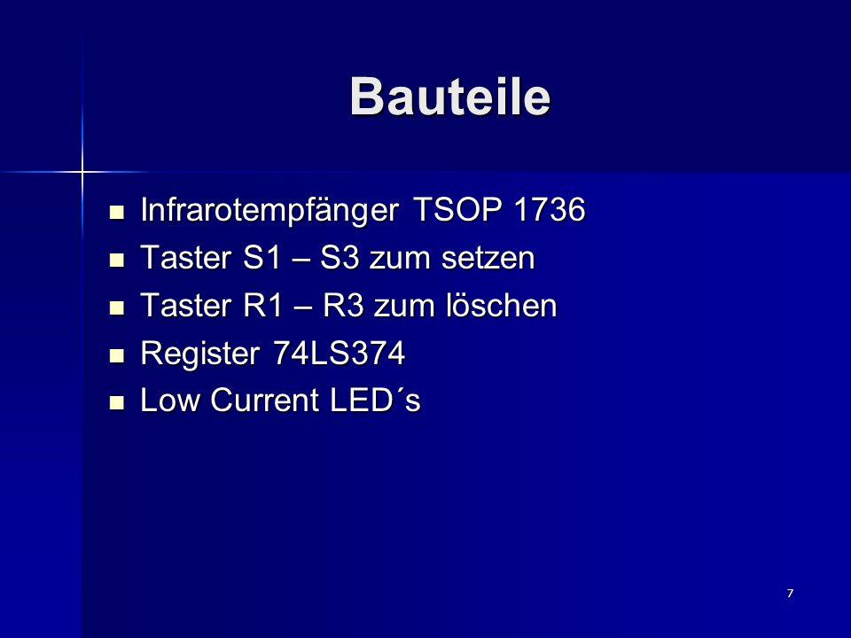 7 Bauteile Infrarotempfänger TSOP 1736 Infrarotempfänger TSOP 1736 Taster S1 – S3 zum setzen Taster S1 – S3 zum setzen Taster R1 – R3 zum löschen Taster R1 – R3 zum löschen Register 74LS374 Register 74LS374 Low Current LED´s Low Current LED´s