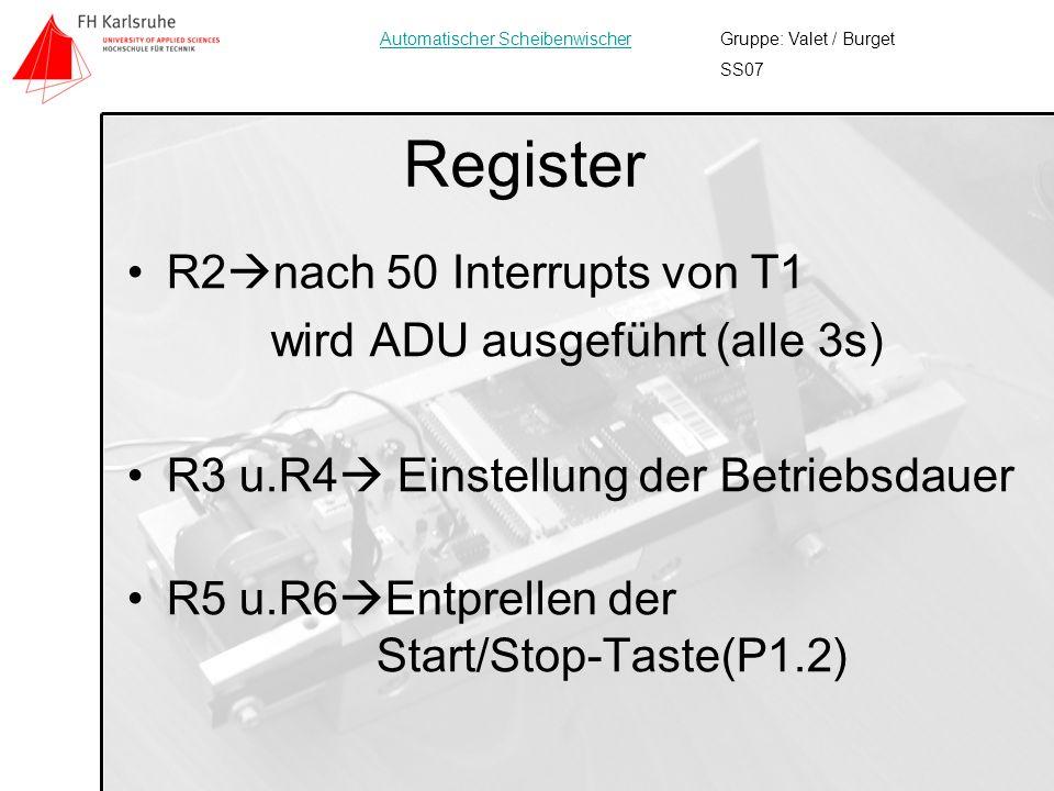 10 Register R2 nach 50 Interrupts von T1 wird ADU ausgeführt (alle 3s) R3 u.R4 Einstellung der Betriebsdauer R5 u.R6 Entprellen der Start/Stop-Taste(P