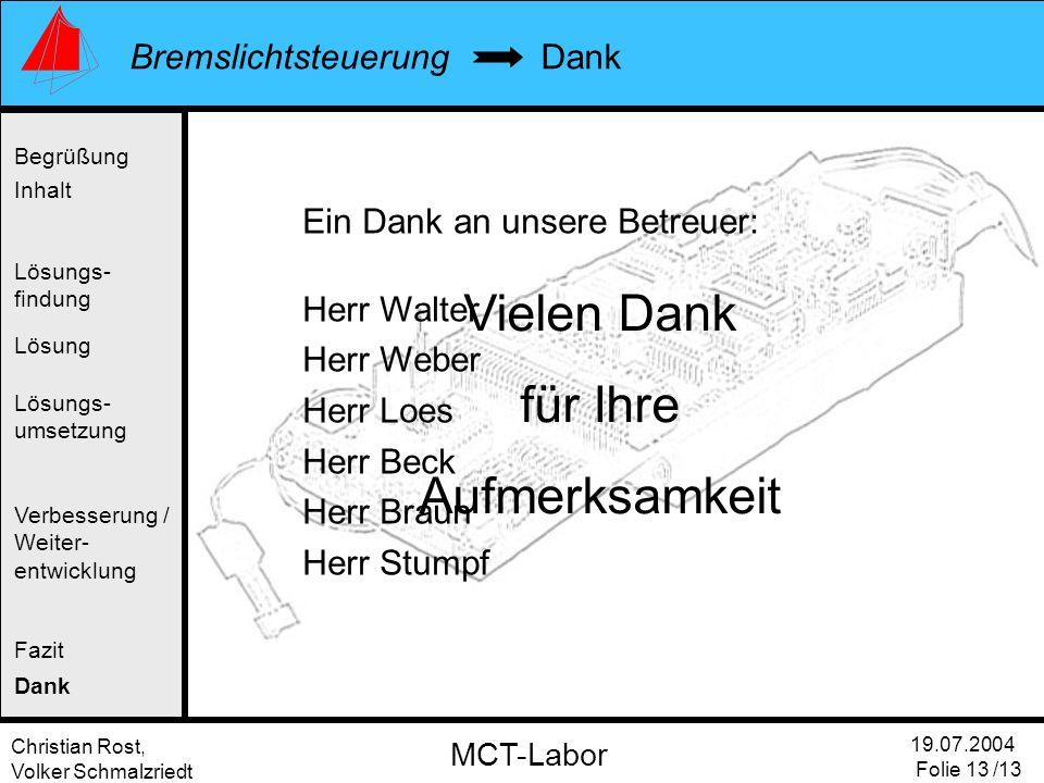 Christian Rost, Volker Schmalzriedt Bremslichtsteuerung 19.07.2004 Folie 13 /13 MCT-Labor Dank Begrüßung Inhalt Lösung Verbesserung / Weiter- entwickl