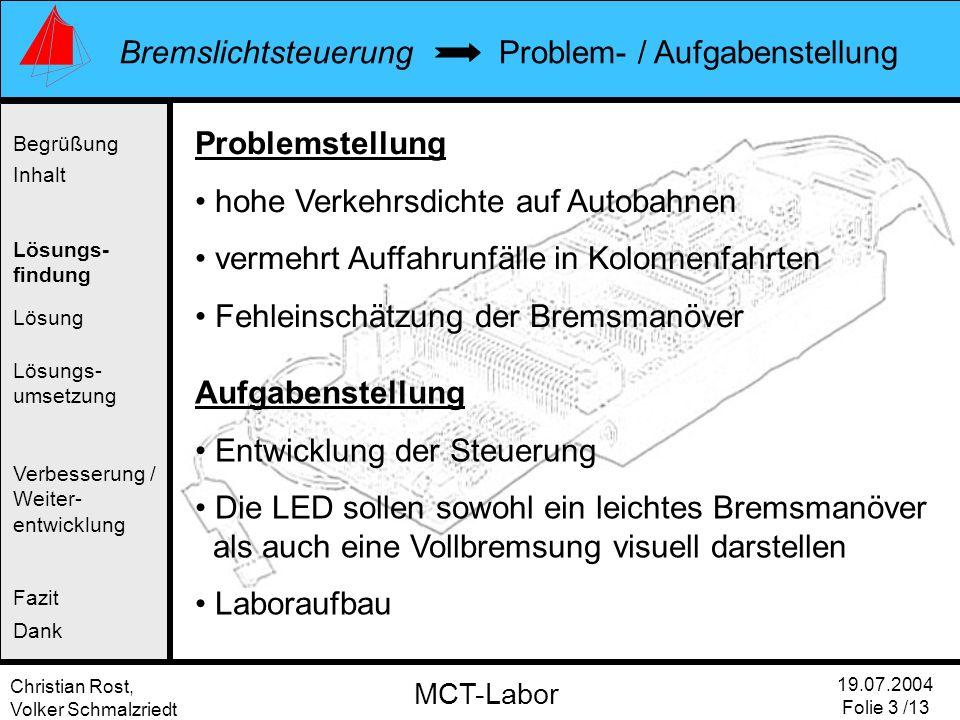 Christian Rost, Volker Schmalzriedt Bremslichtsteuerung 19.07.2004 Folie 3 /13 MCT-Labor Problem- / Aufgabenstellung Begrüßung Inhalt Lösung Verbesser