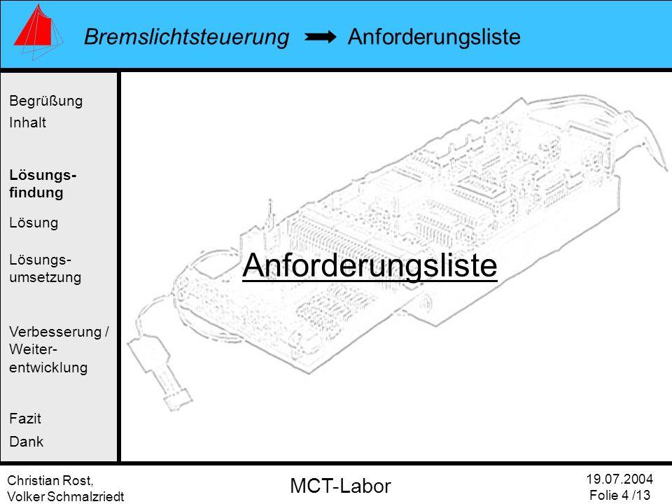 Christian Rost, Volker Schmalzriedt Bremslichtsteuerung 19.07.2004 Folie 4 /13 MCT-Labor Anforderungsliste Begrüßung Inhalt Lösung Verbesserung / Weit
