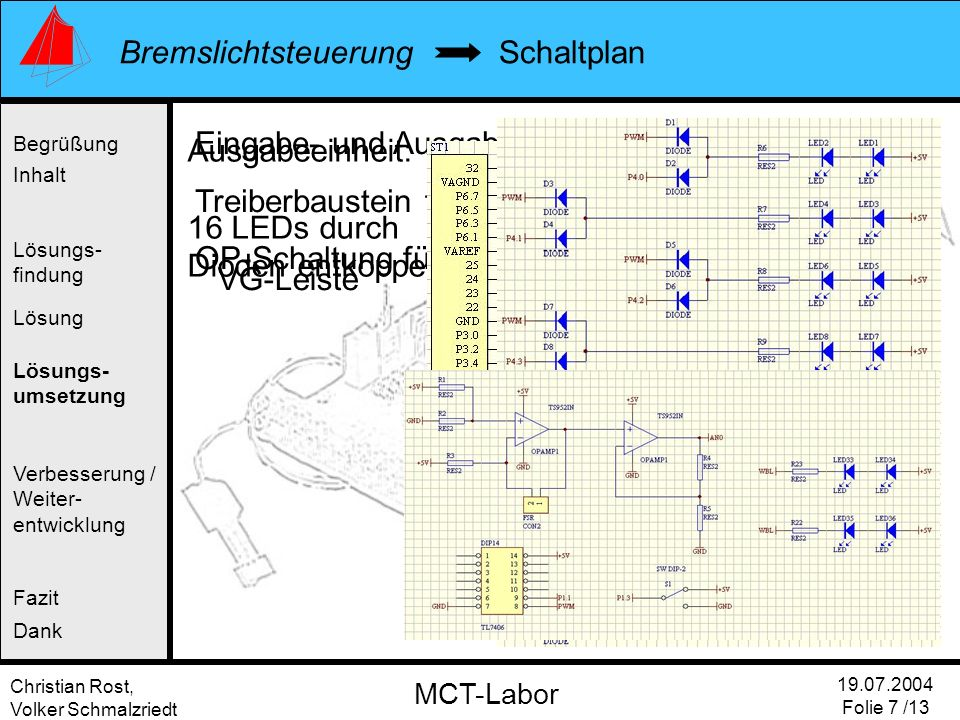 Christian Rost, Volker Schmalzriedt Bremslichtsteuerung 19.07.2004 Folie 7 /13 MCT-Labor Ausgabeeinheit: 16 LEDs durch Dioden entkoppelt Eingabe- und
