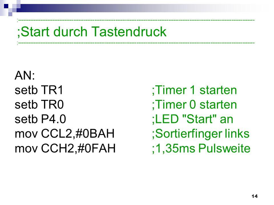 14 AN: setb TR1;Timer 1 starten setb TR0;Timer 0 starten setb P4.0;LED