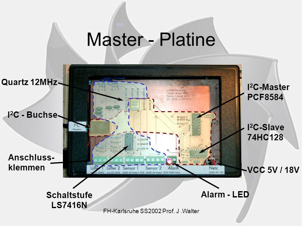 ... Master - Platine Quartz 12MHz I 2 C - Buchse Anschluss- klemmen Alarm - LED VCC 5V / 18V I 2 C-Slave 74HC128 Schaltstufe LS7416N I 2 C-Master PCF8