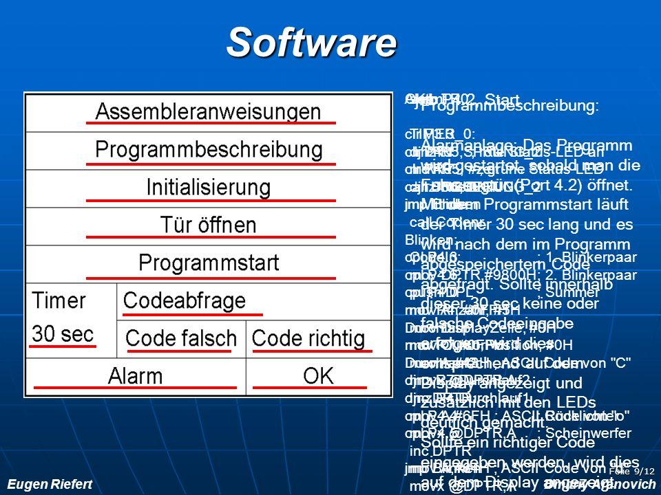 Eugen RiefertDmitriy Aranovich Folie 9/12Software Programmbeschreibung: Alarmanlage: Das Programm wird gestartet, sobald man die Fahrzeugtür (Port 4.2