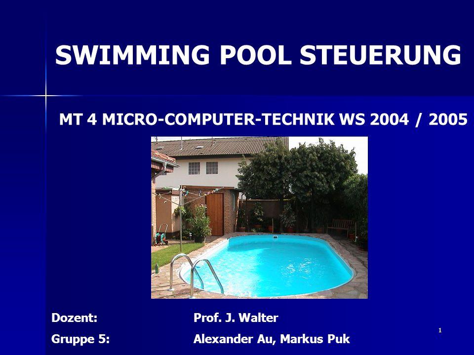 2 Gliederung SWIMMING - POOL - STEUERUNG - die Idee Problem – und Aufgabenstellung - Geforderte Eigenschaften - Unsere Lösung - Hardware - Software - Fehlerfindung - Weiterentwicklung