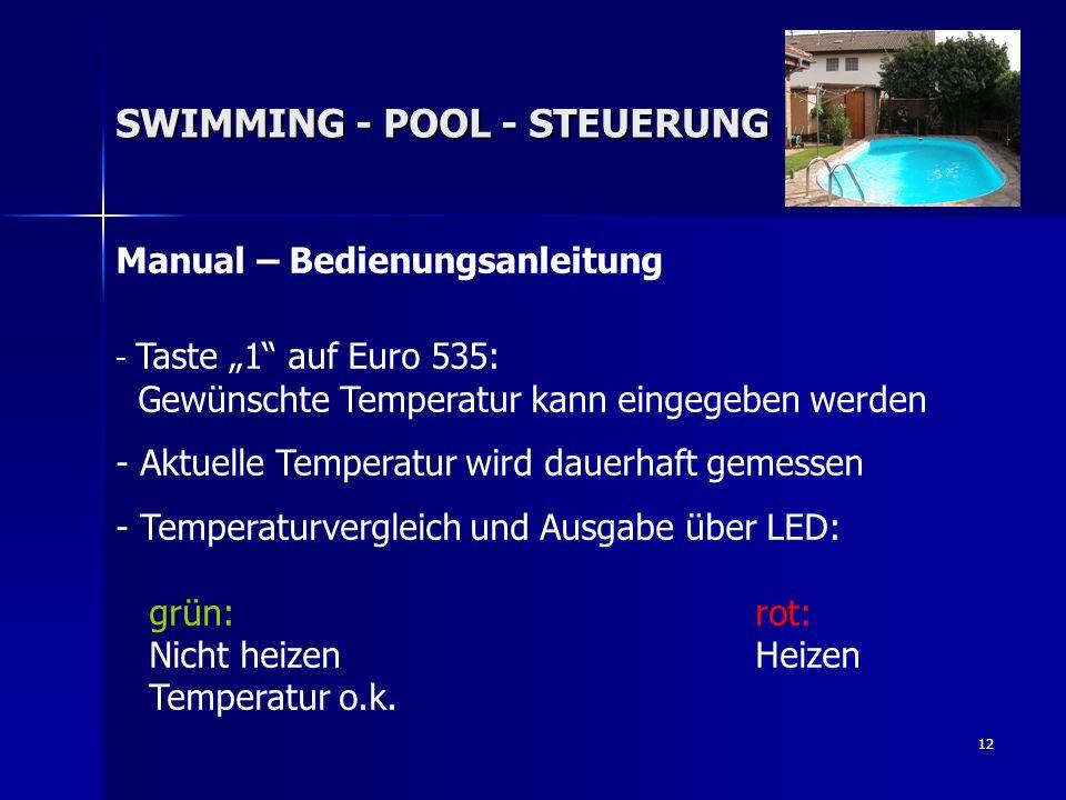 12 Manual – Bedienungsanleitung - Taste 1 auf Euro 535: Gewünschte Temperatur kann eingegeben werden - Aktuelle Temperatur wird dauerhaft gemessen - T