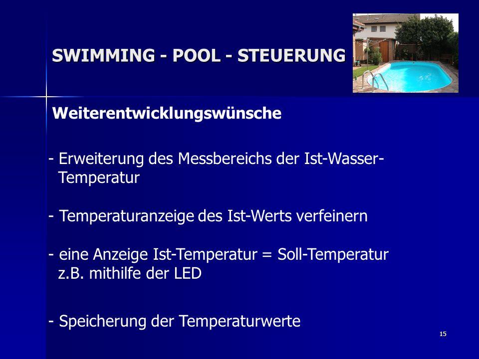 15 Weiterentwicklungswünsche SWIMMING - POOL - STEUERUNG - Erweiterung des Messbereichs der Ist-Wasser- Temperatur - Temperaturanzeige des Ist-Werts v