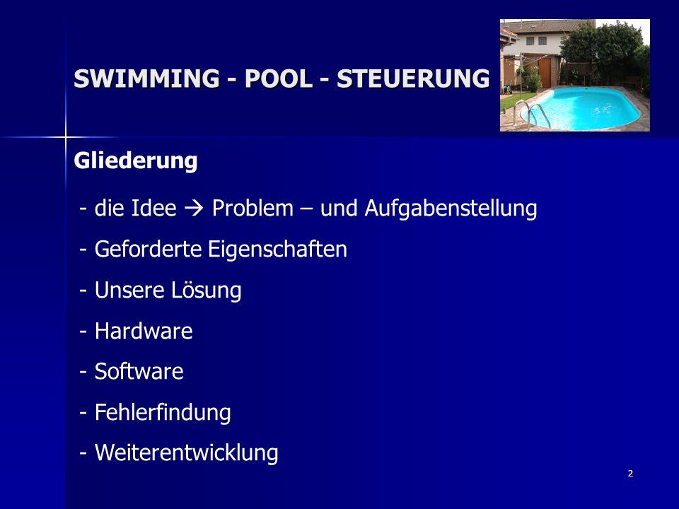 3 SWIMMING - POOL - STEUERUNG Problem- und Aufgabenstellung des Projekts Die Wassertemperatur eines Swimming-Pools bleibt bei einer sich ändernden Außentemperatur nicht konstant deshalb: Entwicklung einer Wassertemperatur-Regelung für Einen Swimming-Pool und Verwendung eines μ-Controllers