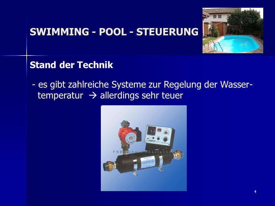5 SWIMMING - POOL - STEUERUNG Folgende Eigenschaften sollen erfüllt sein: - - Die Wassertemperatur soll konstant gehalten werden - Messung der Temperatur mithilfe eines Temperatursensors - Auswertung mithilfe der EURO 535 μ-Controller-Einheit - Anhand der vom Benutzer eingegeben Solltemperatur erfolgt die Regelung der Wassertemperatur - günstig in der Realisierung
