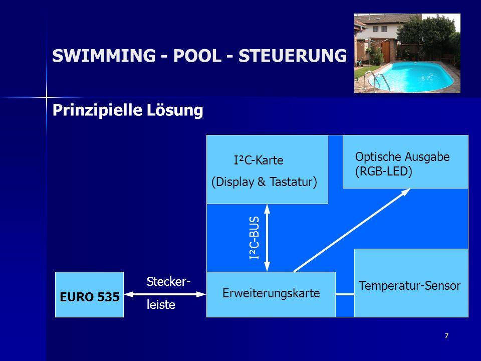 7 Prinzipielle Lösung SWIMMING - POOL - STEUERUNG Erweiterungskarte Temperatur-Sensor I²C-Karte (Display & Tastatur) Optische Ausgabe (RGB-LED) EURO 5