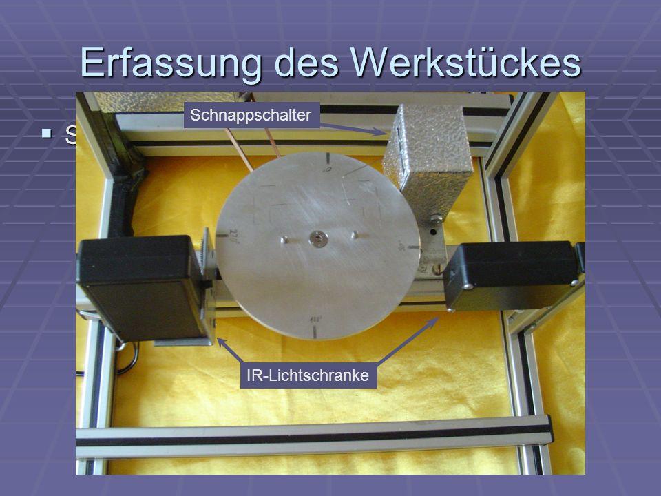 Erfassung des Werkstückes Sensoren Sensoren Schnappschalter IR- Lichtschranke Schnappschalter