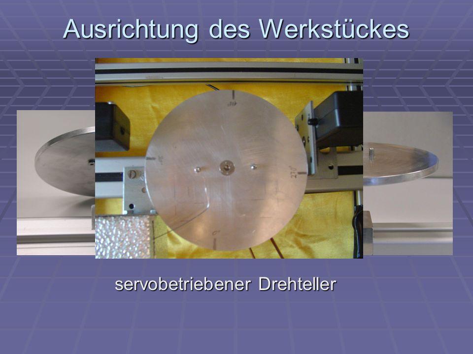 Ausrichtung des Werkstückes servobetriebener Drehteller
