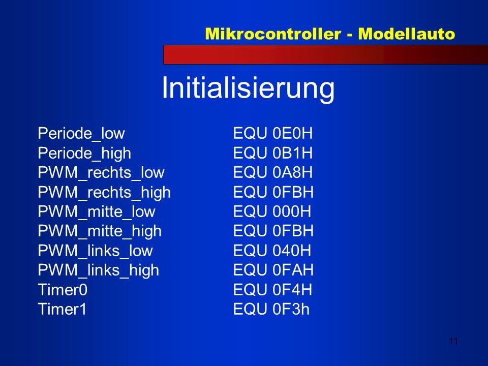 Mikrocontroller - Modellauto 11 Initialisierung Periode_low EQU 0E0H Periode_high EQU 0B1H PWM_rechts_lowEQU 0A8H PWM_rechts_highEQU 0FBH PWM_mitte_lo
