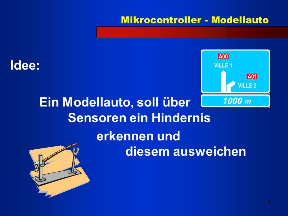 Mikrocontroller - Modellauto 5 Realisierung: Mit einem gekauften Modellauto modifiziert mit: Servomotor Senderdiode TSAL 6200 Empfängerdiode Tsop 1733/1740
