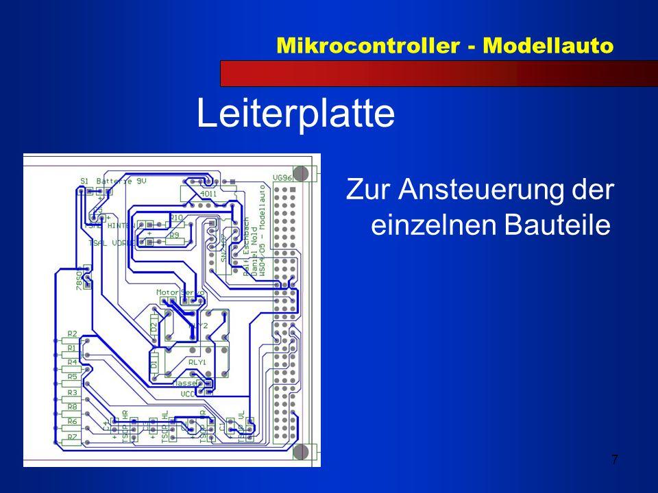 Mikrocontroller - Modellauto 8 Ansteuerung und Programmablauf Verwendete Chip Komponenten Timer 0 und 1 Frequenzmodulation Timer 2 Pulsweitenmodulation